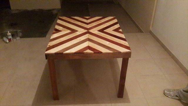 diy pallet diamond burst coffee table