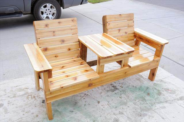 upcycled pallet double chair bench