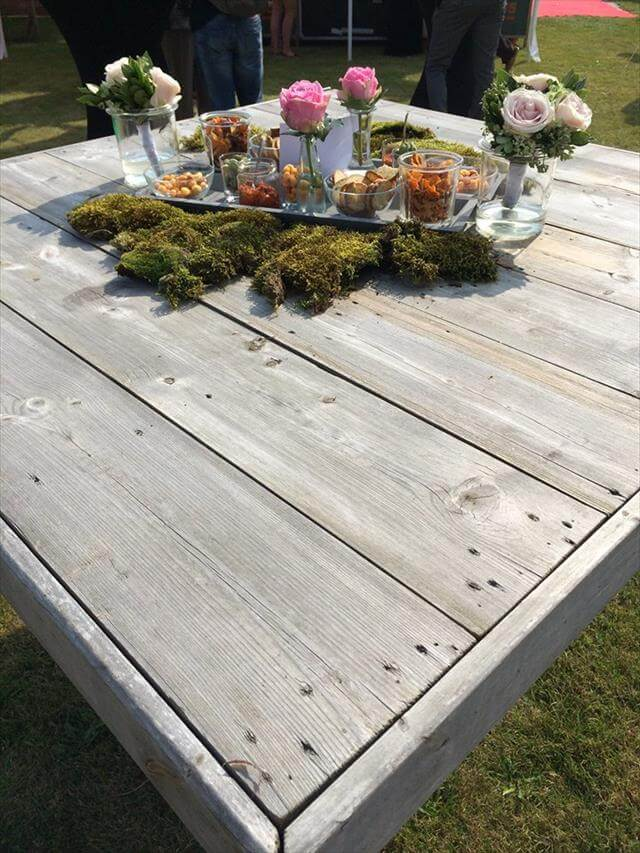 repurposed pallet garden table