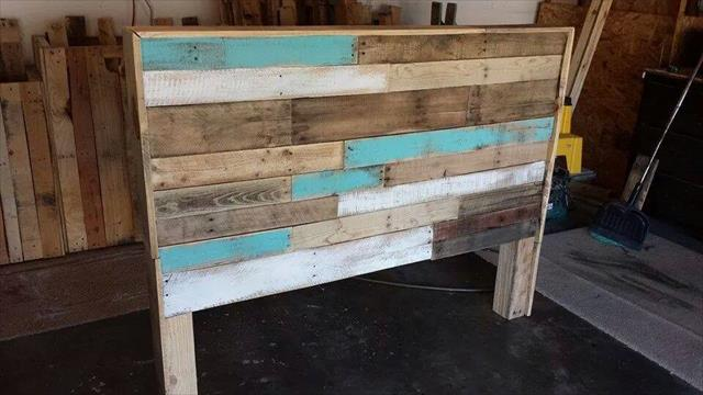 Diy Hand Built Pallet Bed With Headboard 99 Pallets