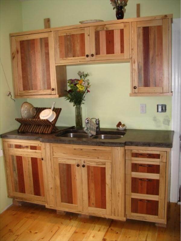 Diy pallet kitchen cabinets low budget renovation 99 for Kitchen units made from pallets