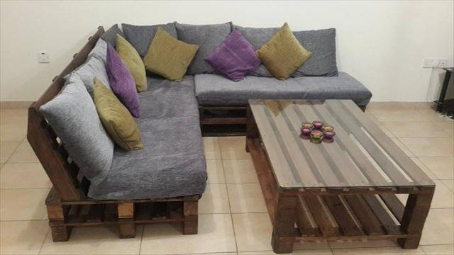 DIY Pallet L-Shaped Sofa - Coffee Table for Living Room | 99 Pallets