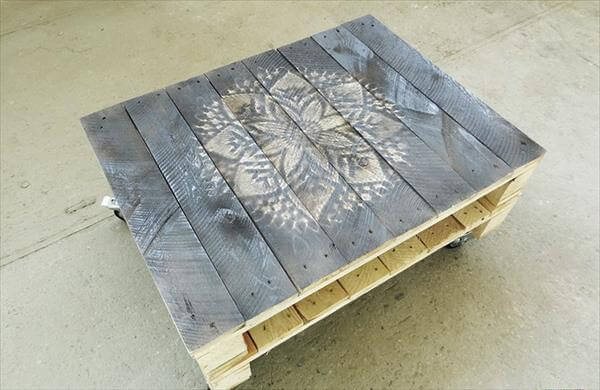 Diy Pallet Coffee Table With Painted Top Pallets