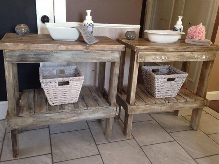 upcycled pallet bathroom table with basket storage