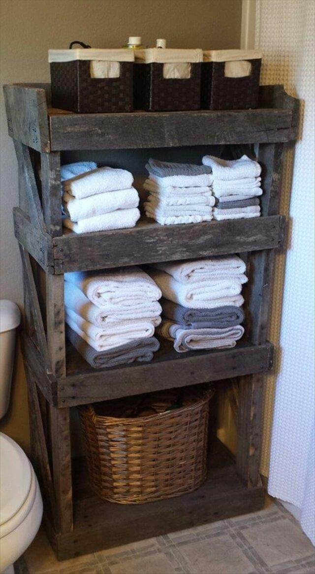 handmade pallet bathroom storage shelf
