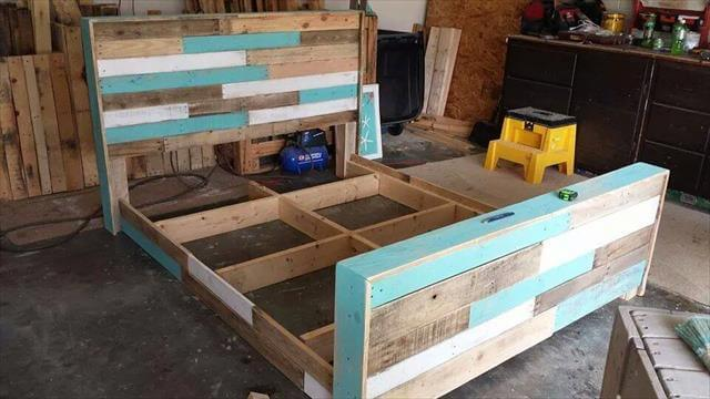 Diy hand built pallet bed with headboard 99 pallets for Recycled pallet bed frame