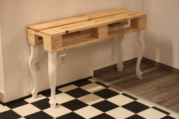 diy pallet table with reclaimed legs