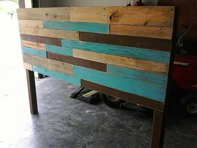upcycled pallet colorful headboard