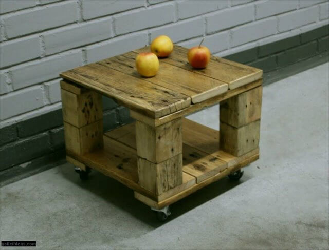 Diy Pallet Mini Coffee Table With Wheels 99 Pallets