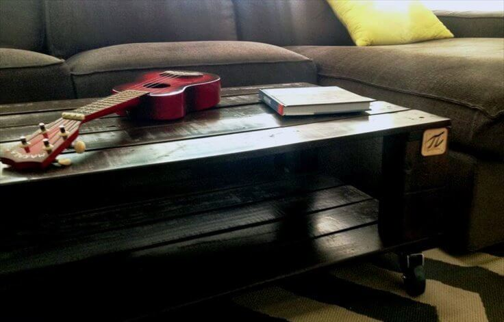 upcycled pallet rolling pallet coffee table
