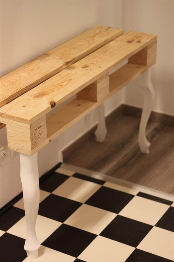handmade pallet coffee table with white reclaimed legs