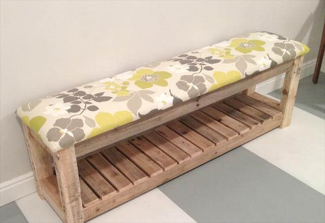 Reclaimed Pallet Upholstered Bench