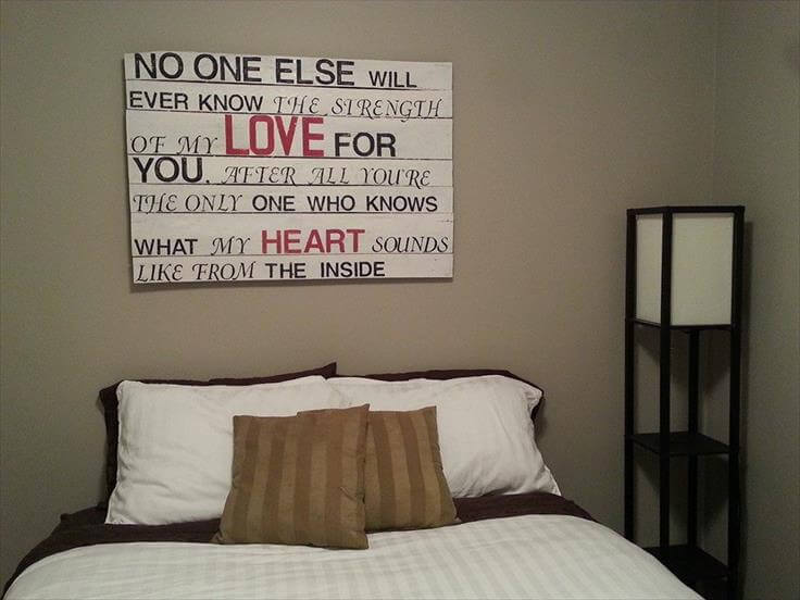 wooden pallet white wall sign