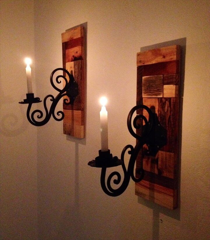 recycled pallet antique wall candle fixture