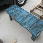 DIY Distressed Teal Blue Pallet Bench