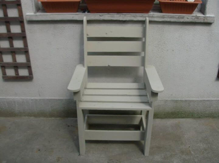 recycled pallet grey painted chair