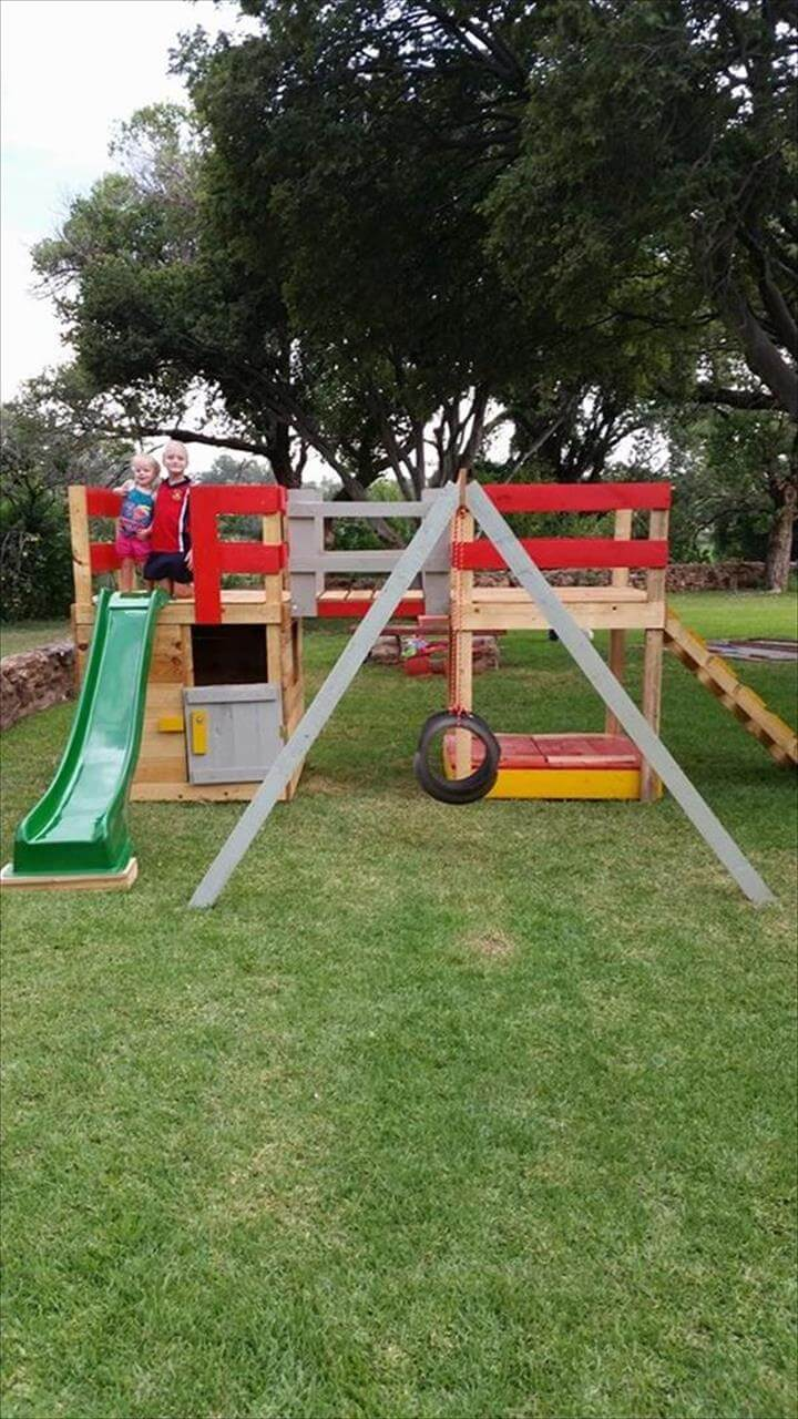 Colorful Pallet Jungle Gym Kids Playhouse 99 Pallets