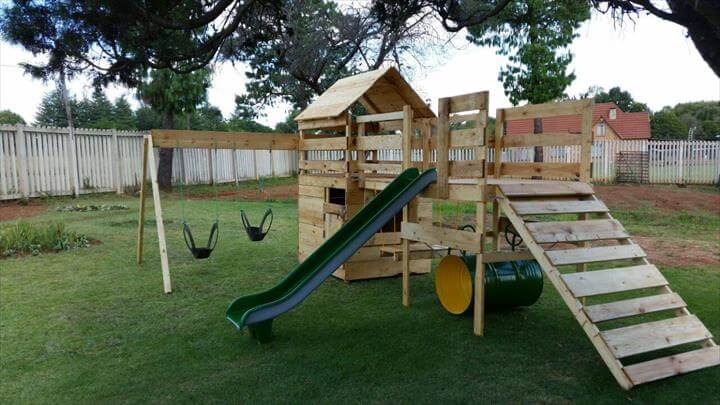 DIY Reclaimed Pallet Jungle Gym Playhouse 99