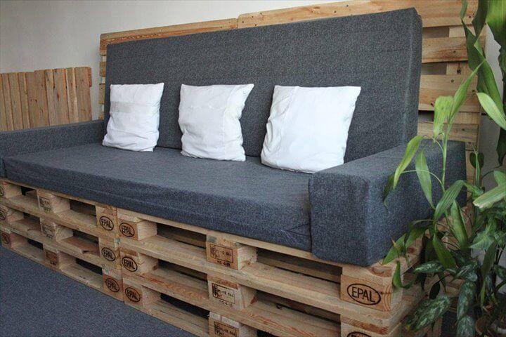 reclaimed pallet upholstered settee