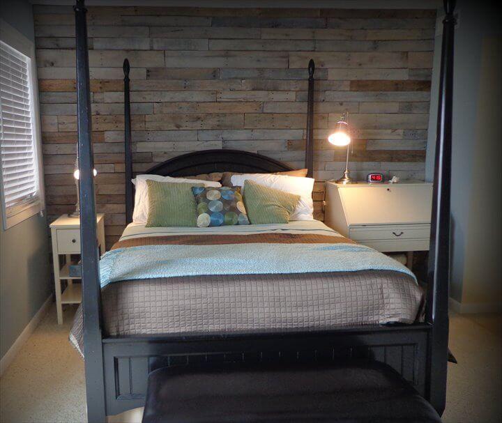 reclaimed pallet wood bedroom wall