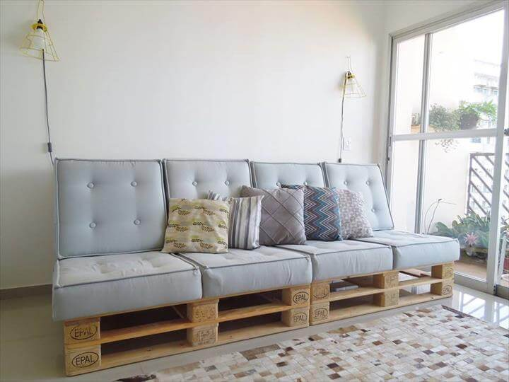 upcycled cushioned pallet sofa