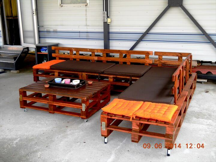 recycled pallet patio sectional sitting furniture