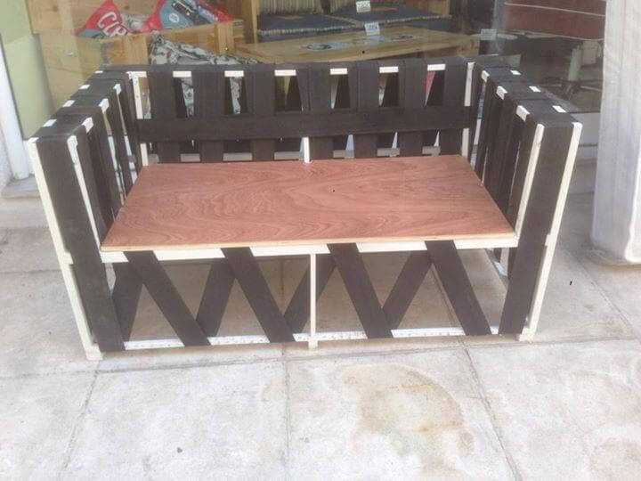 recycled pallet and metal sofa or two seater
