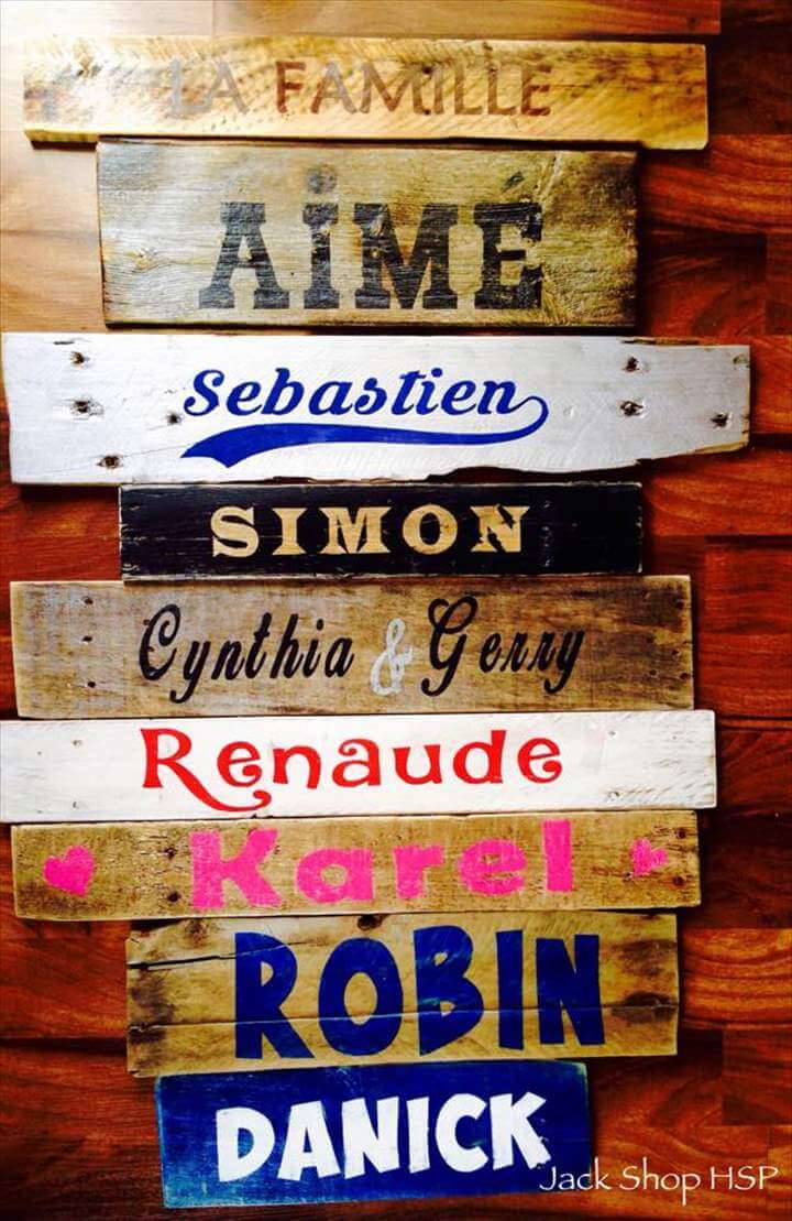 hand-built pallet custom family name wall art