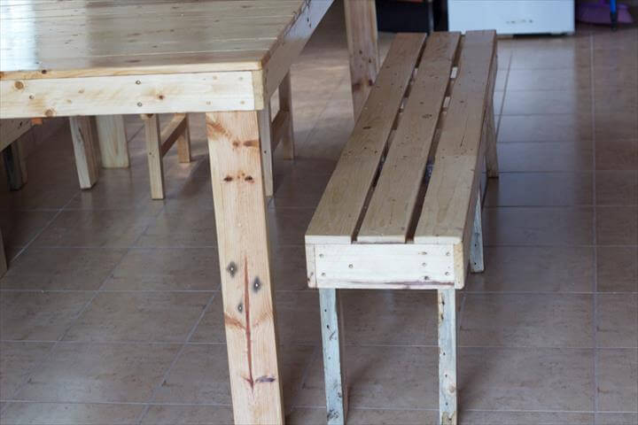 upcycled pallet dining bench and table