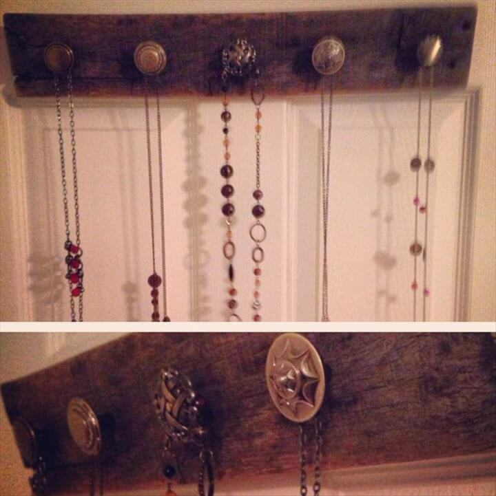 repurposed pallet jewelry organizer