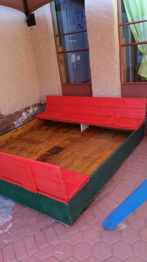 repurposed pallet kids sandbox