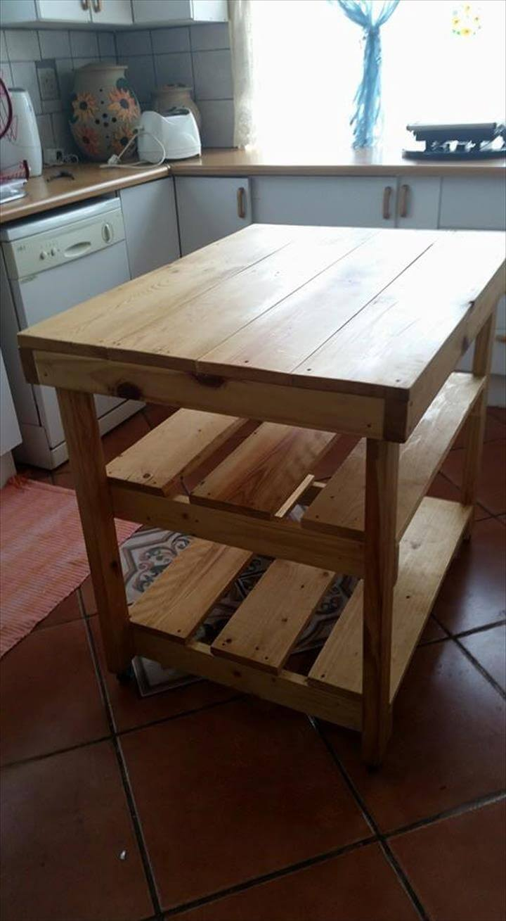 ... DIY Hand-Built Pallet Kitchen Island - DIY Pallet Island Kitchen Table 99 Pallets