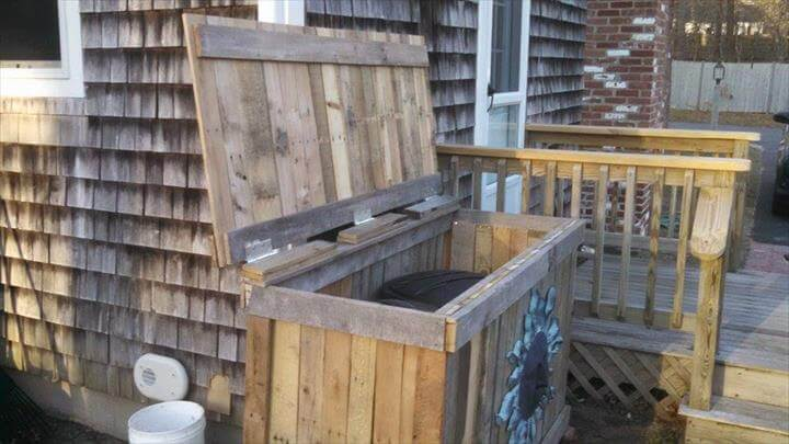 handcrafted pallet trash bin holder