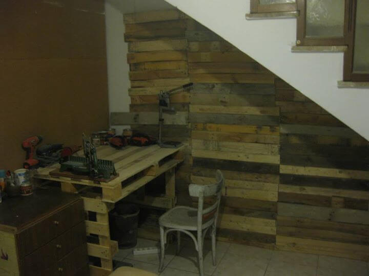 handmade pallet wood wall and desk