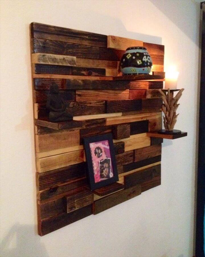 diy easy to build pallet decorative wall shelf