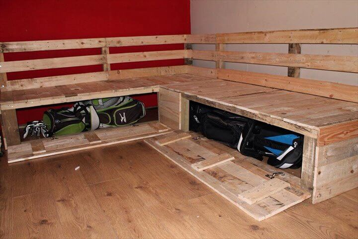 salvaged pallet sofa with storage : how to make a sectional couch - Sectionals, Sofas & Couches