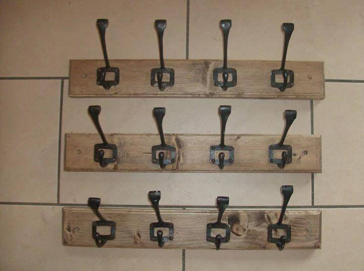reclaimed pallet coat rack with metal hooks