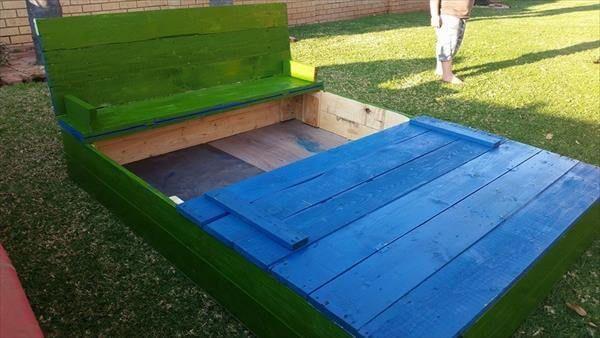 handmade painted pallet sandbox
