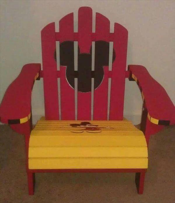 repurposed pallet colorful Adirondack chair