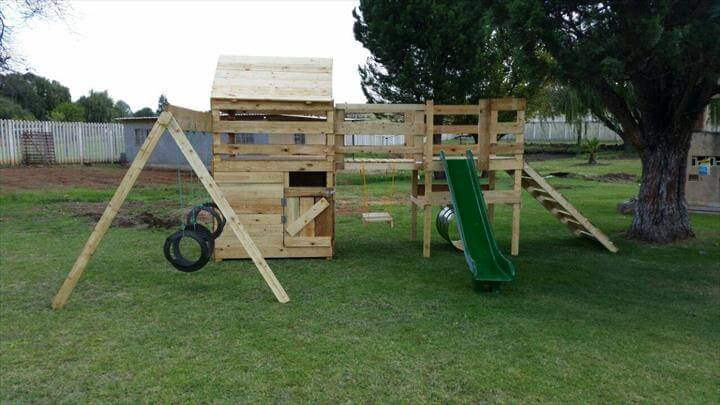 Diy reclaimed pallet jungle gym pallet playhouse 99 for Jungle gym plans