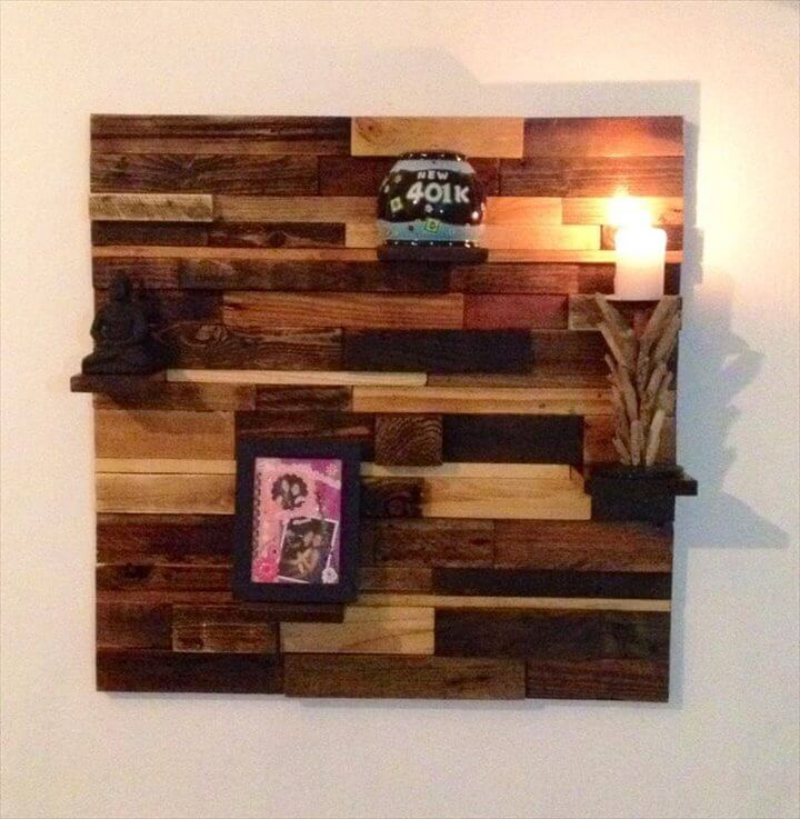 Diy easy to build pallet decorative wall shelf 99 pallets for How to make wall shelves easy
