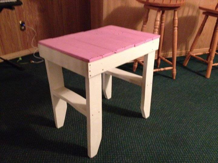 modern pallet pink and white side table