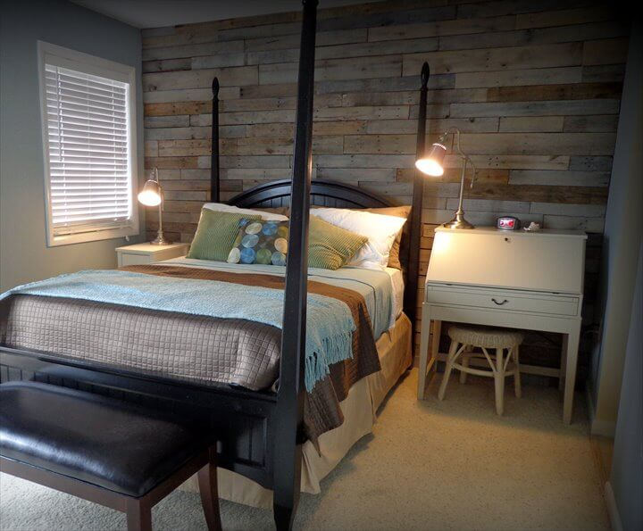 salvaged pallet bedroom wooden wall