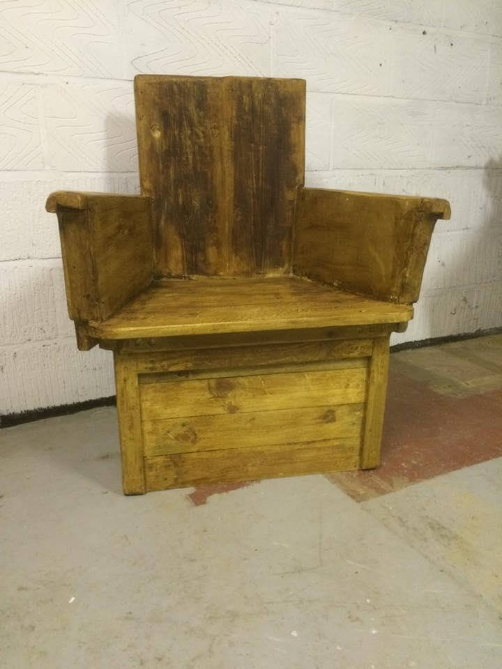 recycled pallet and reclaimed old wood chair