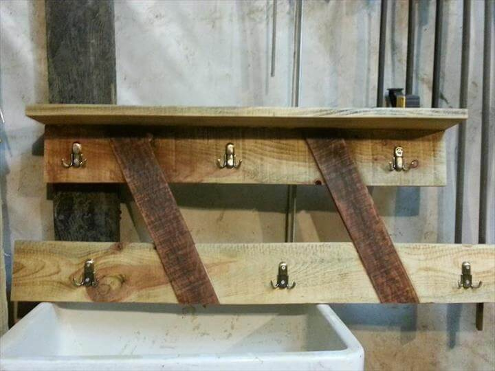 recycled pallet coat rack with shelf