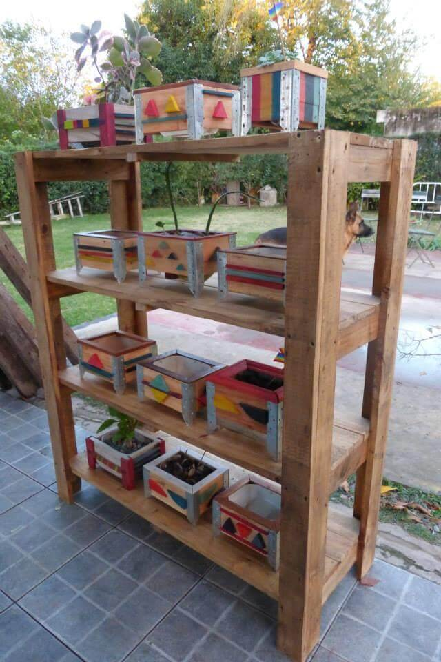 DIY Pallet Shelves With Containers 99 Pallets