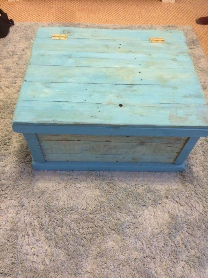 aqua blue chest made of pallets