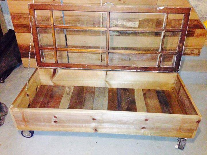 upcycled pallet and old glass paneled window coffee table - DIY Old Glass Window And Pallet Coffee Table 99 Pallets