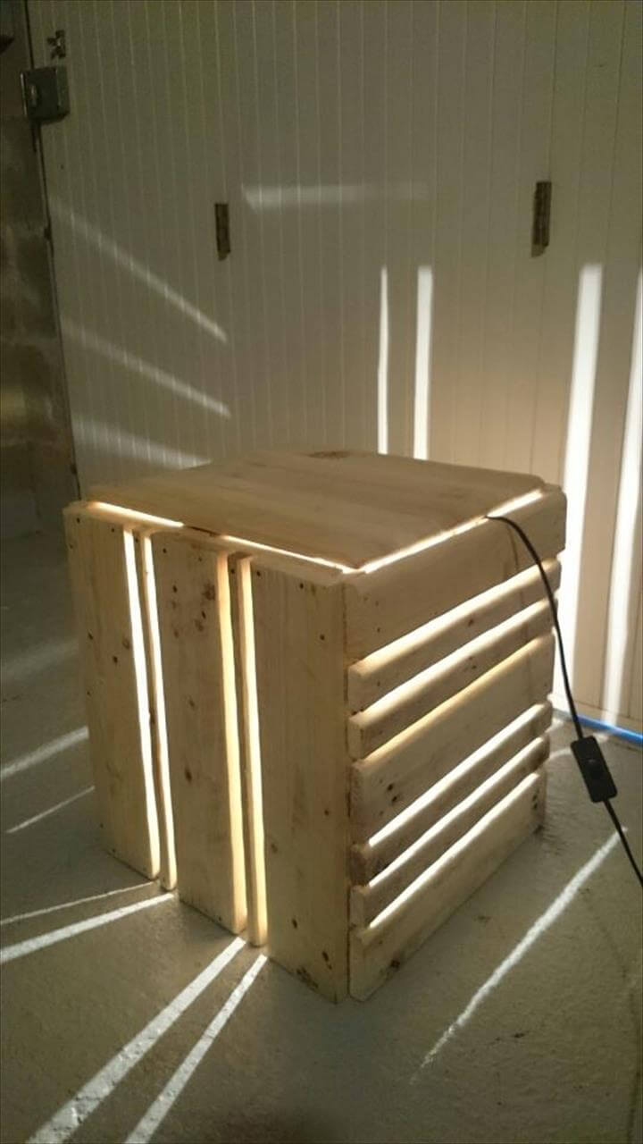 recycled pallet accent light and nightstand