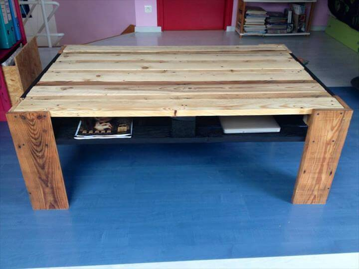 recycled pallet coffee table with storage